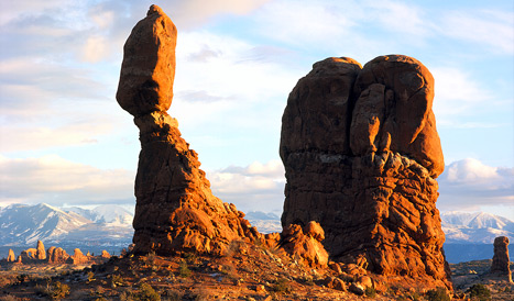 Balanced Rock in Arches National Park and the La Sal Mountains