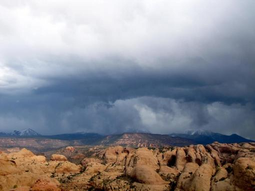Storm over La Sal Mountains and Sand Flats, Moab